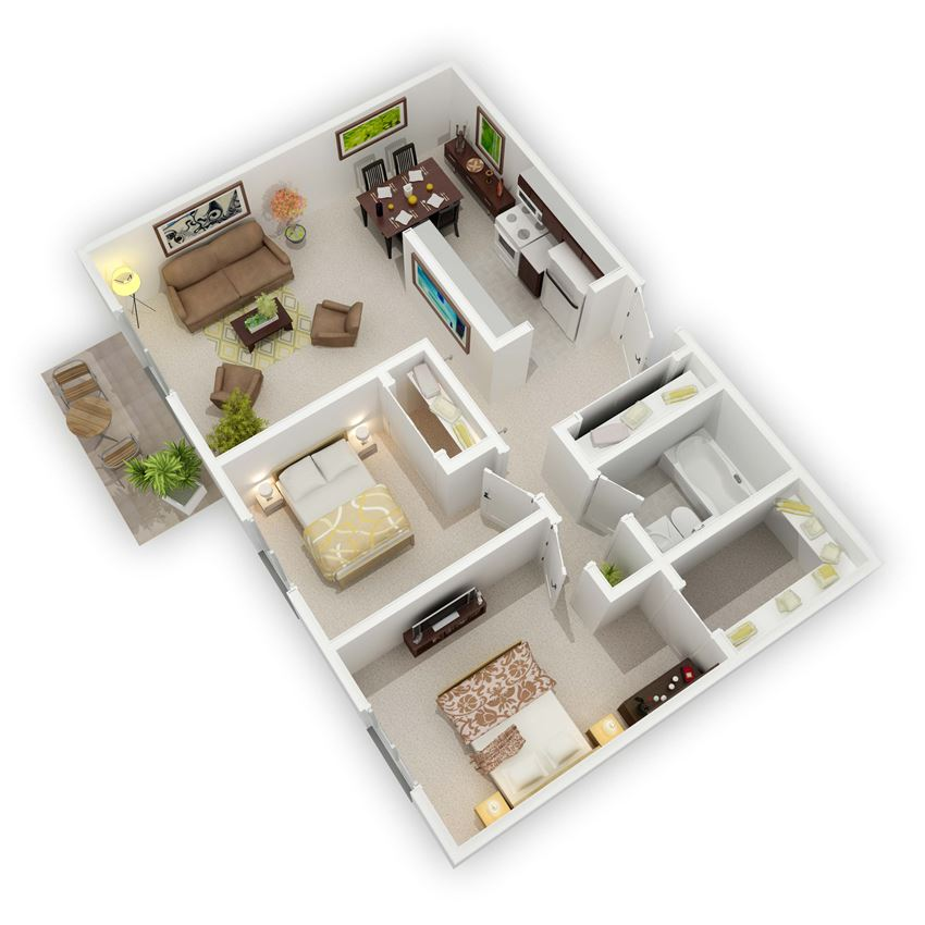 Country Bluff Apartments - The Roosevelt Two-Bedroom Floor Plan (3D)