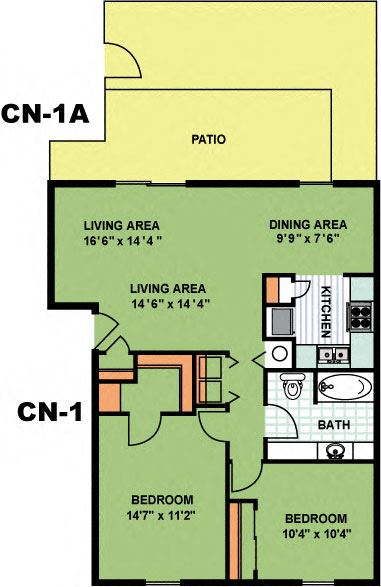 Two Bed One Bath (CN1)