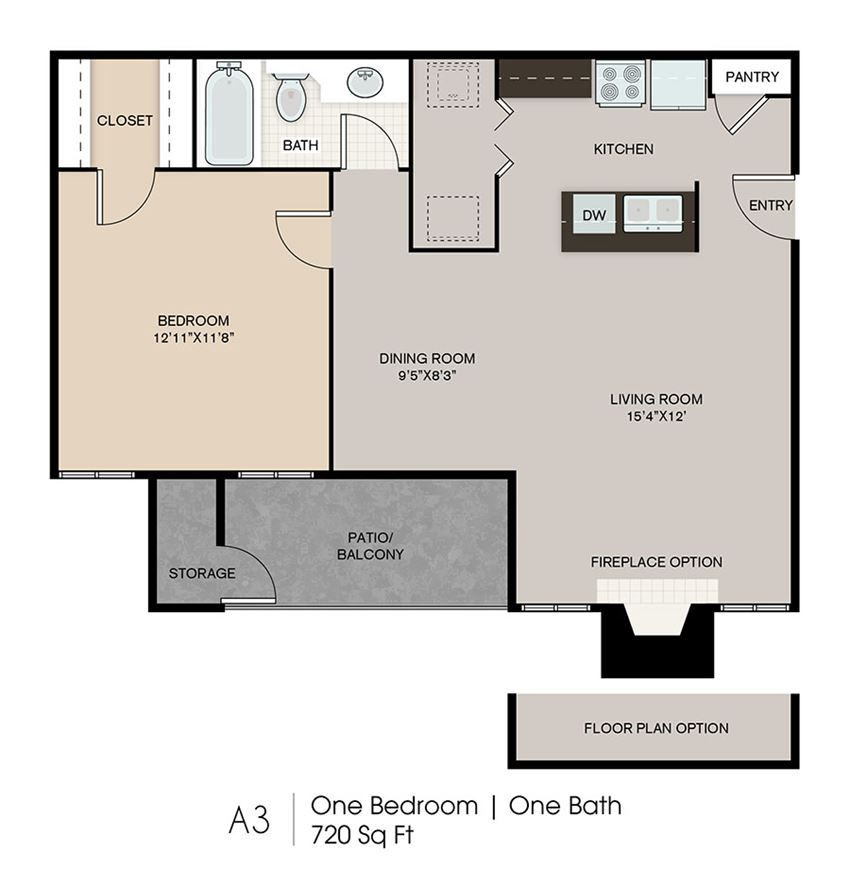 One Bedroom Floor Plan l Ryans Crossing in El Paso, TX