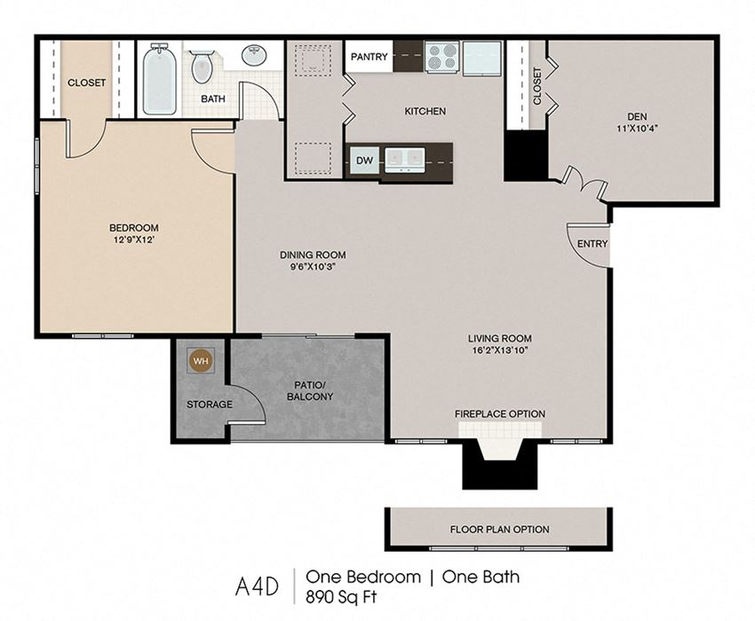 One bedroom with den floor plan  Ryans Crossing in El Paso, TX