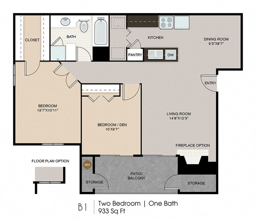 Two Bedroom Floor Plan l Ryans Crossing in El Paso, TX