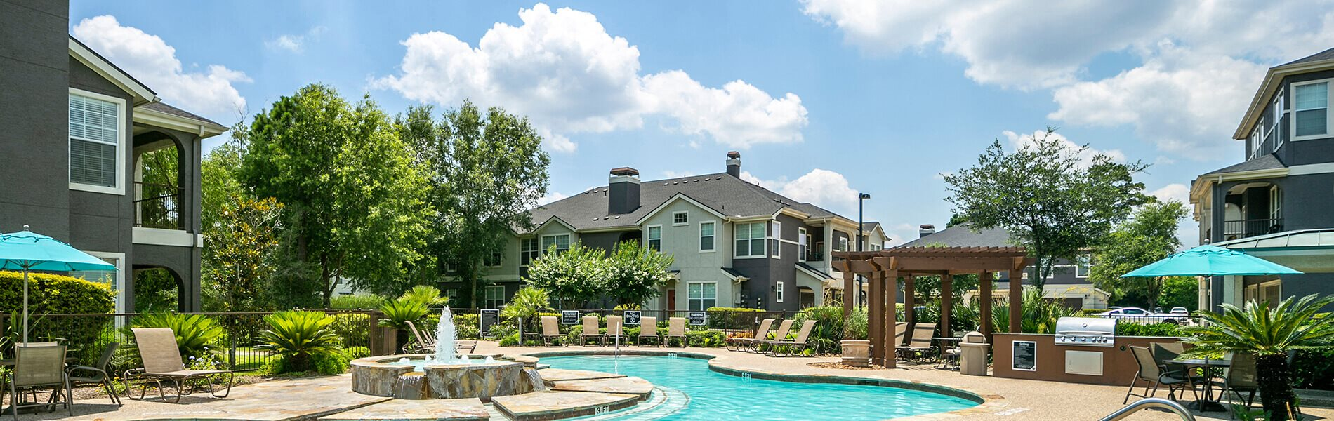 Pool at The Dominion Apartments in Conroe, TX