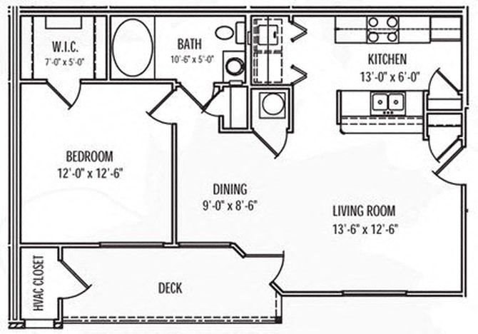 1 Bedroom 1 Bath Floor Plan 1