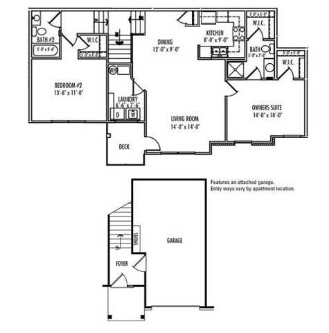 2 Bed w/ Attached Garage Floor Plan 6