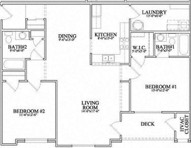 2 Bedroom 2 Bath Floor Plan 3