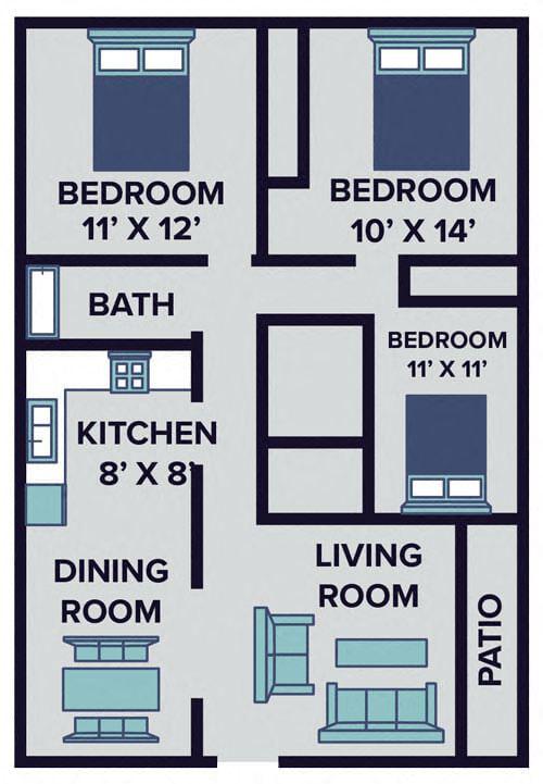 three bedroom apartment floor plan