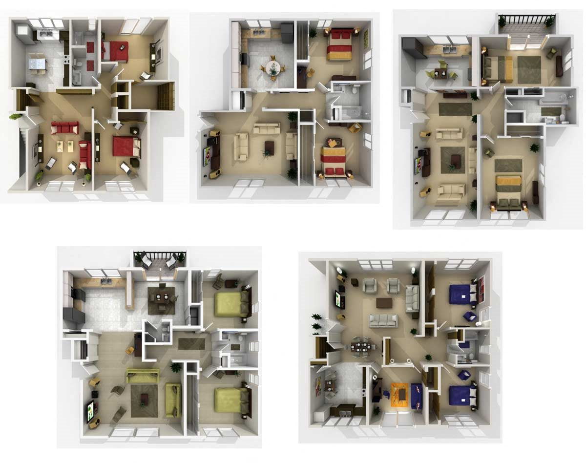 2 Beds 1 Bath Floor Plan 3