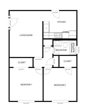 2-Bedrooms, 1-Bathroom SR1040