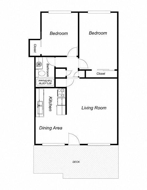 2-Bedrooms, 1-Bathroom Floor Plan 1