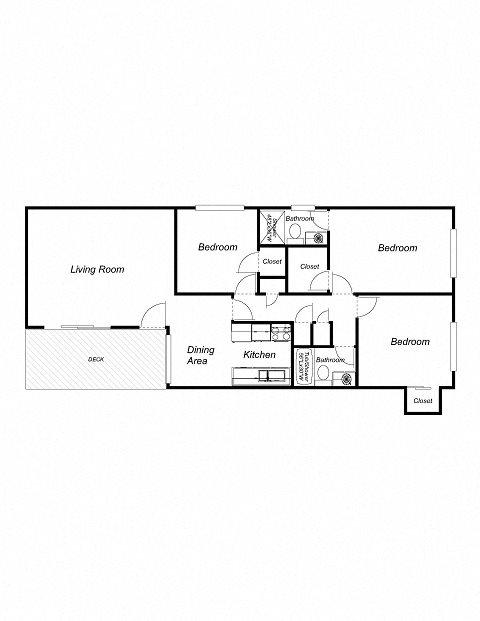 3-Bedrooms, 2-Bathrooms Floor Plan 2