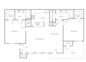 TWO BEDROOM TWO BATH 1050