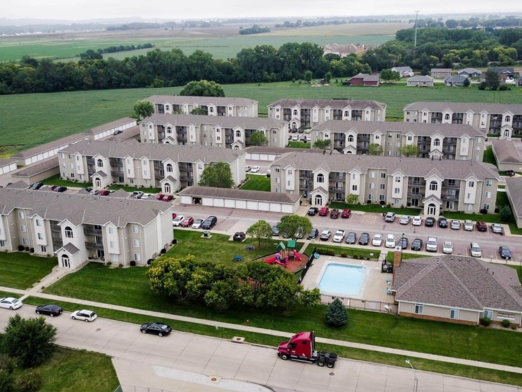Ariel photo of pool and buildings at The Arbors Apartments in South Sioux City, Nebraska
