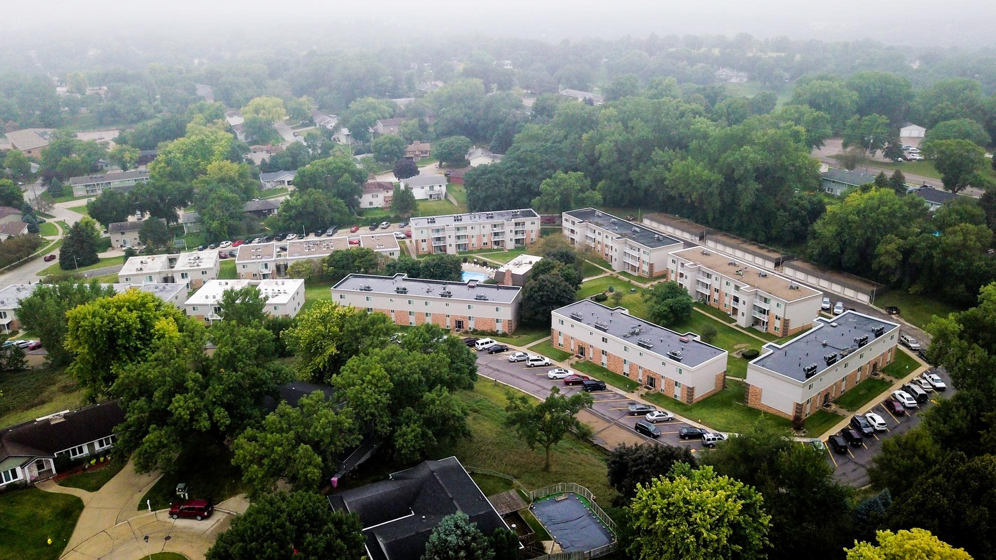 Arial view Indian Hills Apartments in Northern Sioux City, Iowa