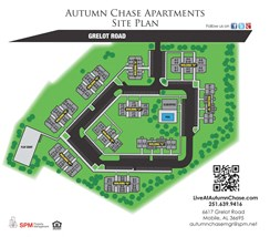 Autumn Chase Apartment Homes, 6617 Grelot Rd, Mobile, AL 36695 Site Map