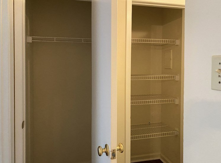 closet and linen closet with built-in wire shelving