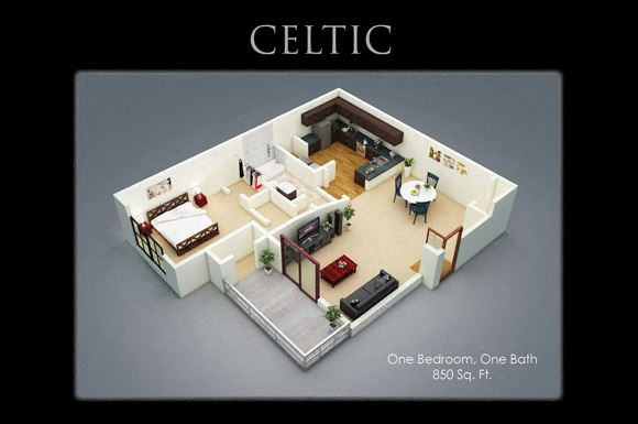Celtic Floor Plan at Fenwyck Manor Apartments, Chesapeake, Virginia