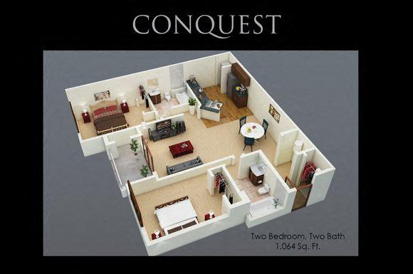 Conquest Floor Plan at Fenwyck Manor Apartments, Chesapeake