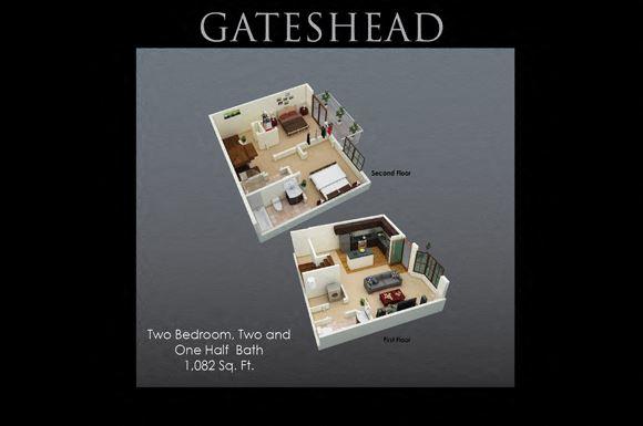 Gateshead Floor Plan at Fenwyck Manor Apartments, Virginia, 23320
