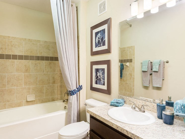 Lake Nona Water Mark Apartments in Lake Nona in ORLANDO, FL 32827 large bathrooms with vikrel tubs and 7ft shower heads