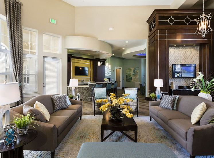 beautiful resident lounge in clubhouse with plush seating