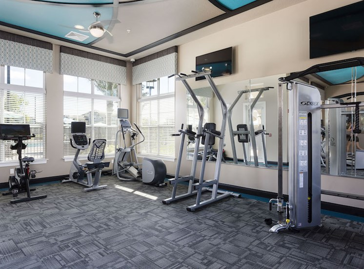 modern fitness equipment in fitness center