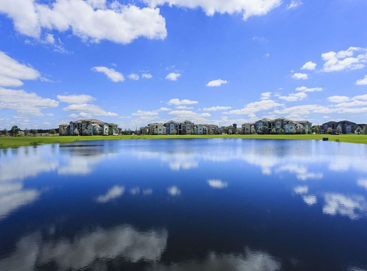 stunning lake reflecting blue sky and clouds