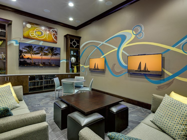 Lake Nona Water Mark Apartments in Lake Nona in ORLANDO, FL 32827 media center in clubhouse