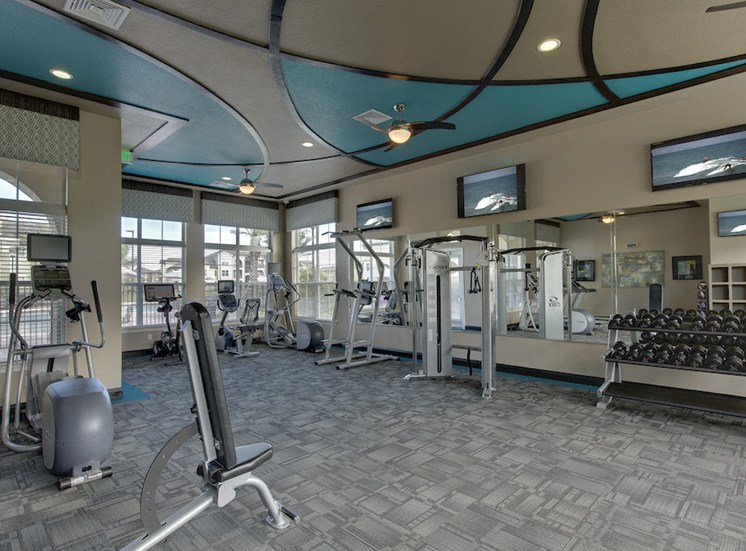Lake Nona Water Mark Apartments in Lake Nona in ORLANDO, FL 32827 24-hour fitness studio featuring weights and cardio equipment