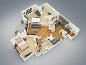 Lake Nona Water Mark Apartments in Lake Nona in ORLANDO, FL 32827 Delray Floor Plan