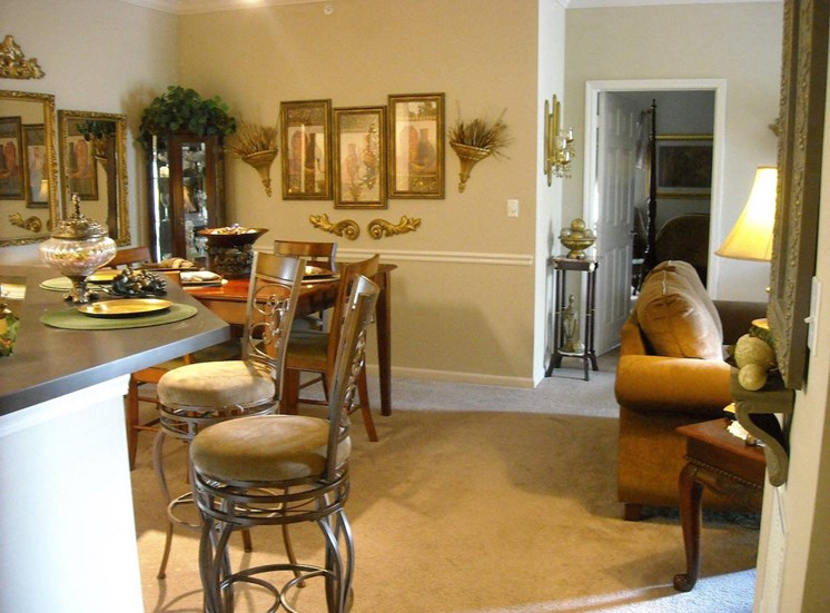 kitchen and living room area in open layout home