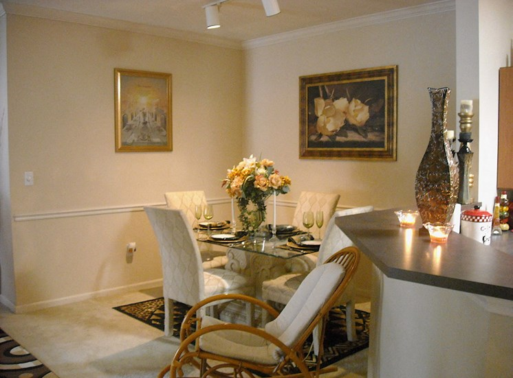 model furnished dining room with track lighting