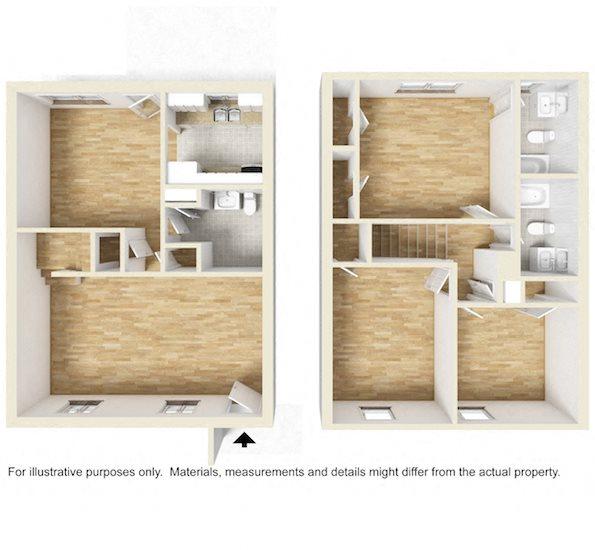 Shadowood Apartments Oxford, AL Anniston, AL 36207 3 bedroom 2.5 bathroom  floor plan