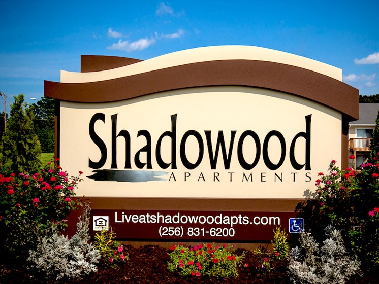 Shadowood Apartments monument sign at entrance