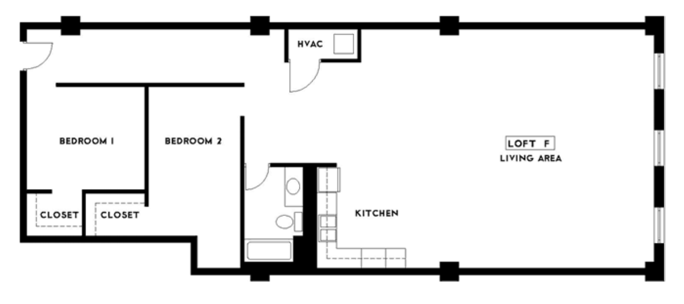 The Phoenix Building Lofts in Birmingham, Alabama 35203 two bedroom one bathroom apartment floor plan