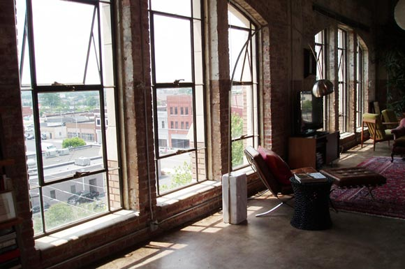banks of large windows at  Phoenix Lofts Birmingham, AL 35203