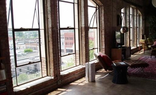 banks of large windows at  Phoenix Lofts Birmingham, AL 35203