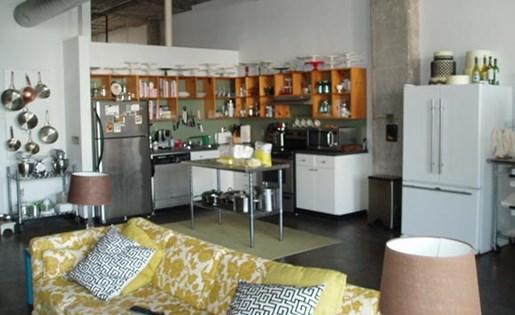 kitchen and living room at  Phoenix Lofts Birmingham, AL 35203