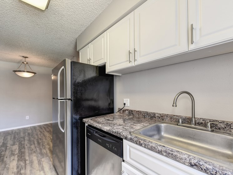 Kitchen with white cabinetry, stainless steel sink, faucet and cabinet hardware