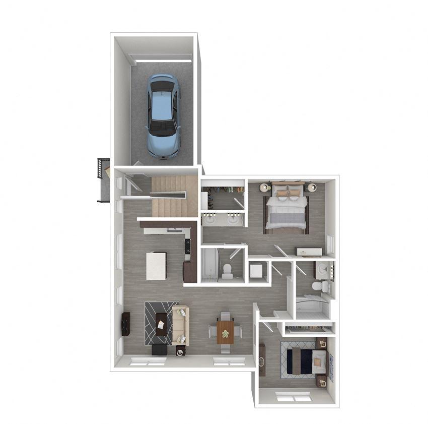 2 Bedroom, 2 Bathroom Floor Plan