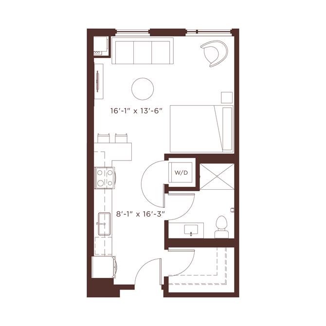 S1 Floorplan with shower/tub combination at North+Vine, Chicago, Illinois