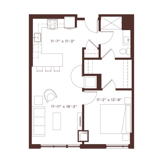 a2 Floorplan at North+Vine, Illinois, 60610