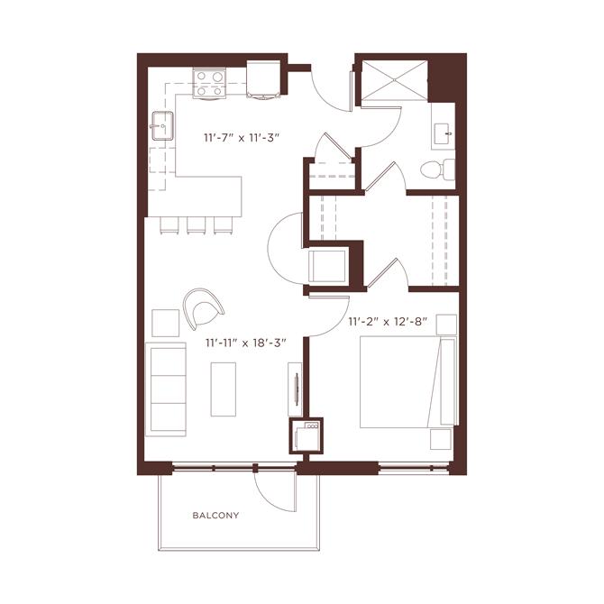 a2b Floorplan at North+Vine, Chicago, 60610