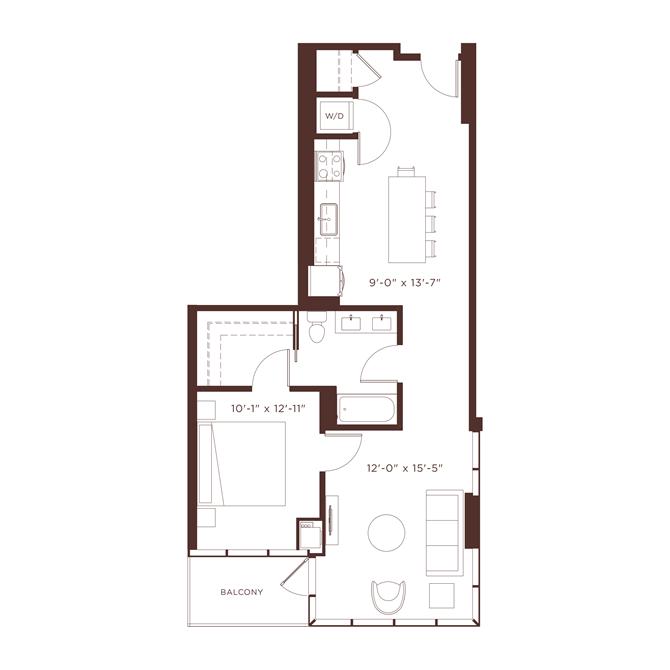 a5 Floorplan at North+Vine, Chicago, 60610