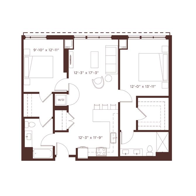 b2 Floorplan at North+Vine, Illinois