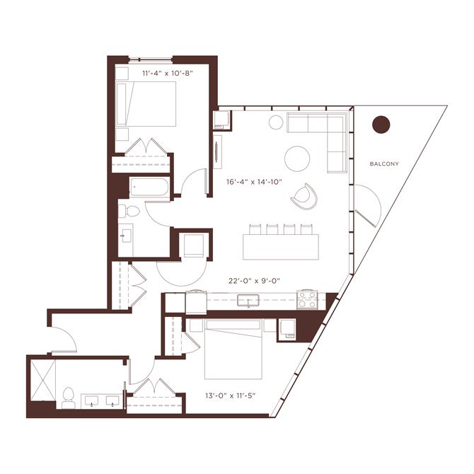 b3 Floorplan at North+Vine, Chicago, IL, 60610