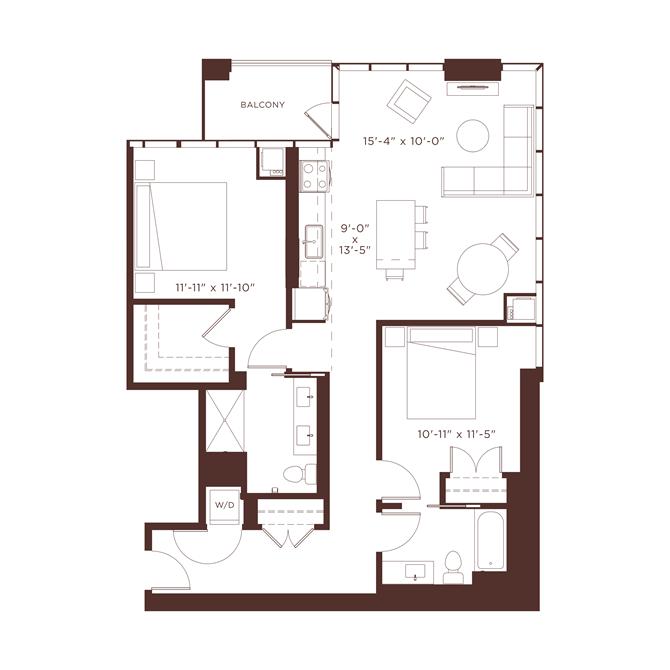 16 floorplan at North+Vine, Chicago, Illinois
