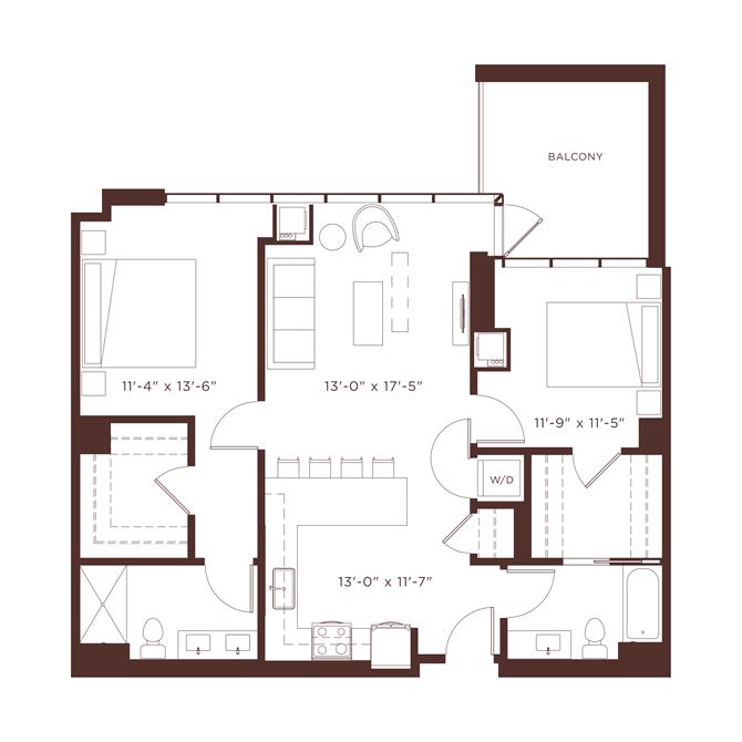 20 floorplan at North+Vine, Chicago, IL, 60610