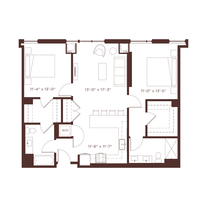 21 floorplan at North+Vine, Chicago, IL