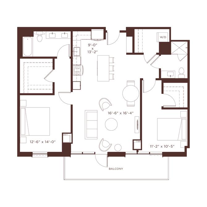 23 floorplan at North+Vine, Chicago, Illinois