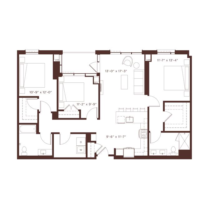 24 floorplan at North+Vine, Chicago
